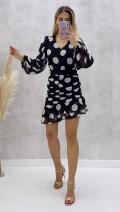İri Puantiyeli Asimetrik Elbise