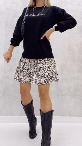 Eteği Desenli Sweat Elbise