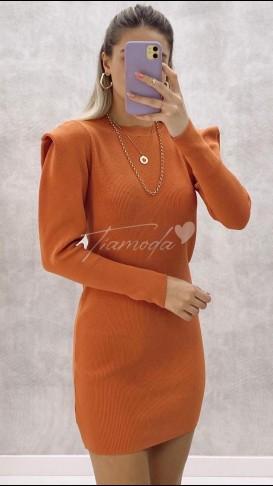 Omuz Detay Triko Elbise - Turuncu