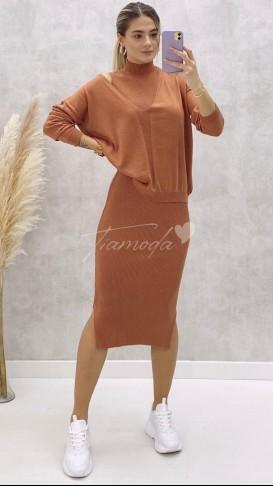 Balıkçı Elbise Kazak Takım - Turuncu
