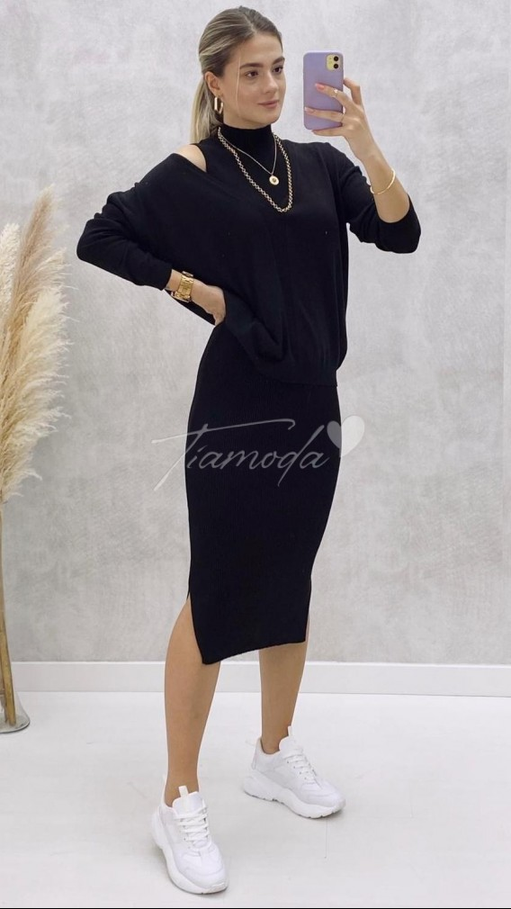 Balıkçı Elbise Kazak Takım - Siyah