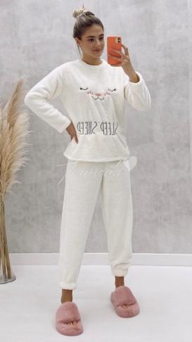 Peluş Pijama Takımı - Beyaz
