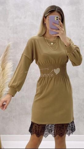 Gipeli Dantel Detay Elbise - Bej