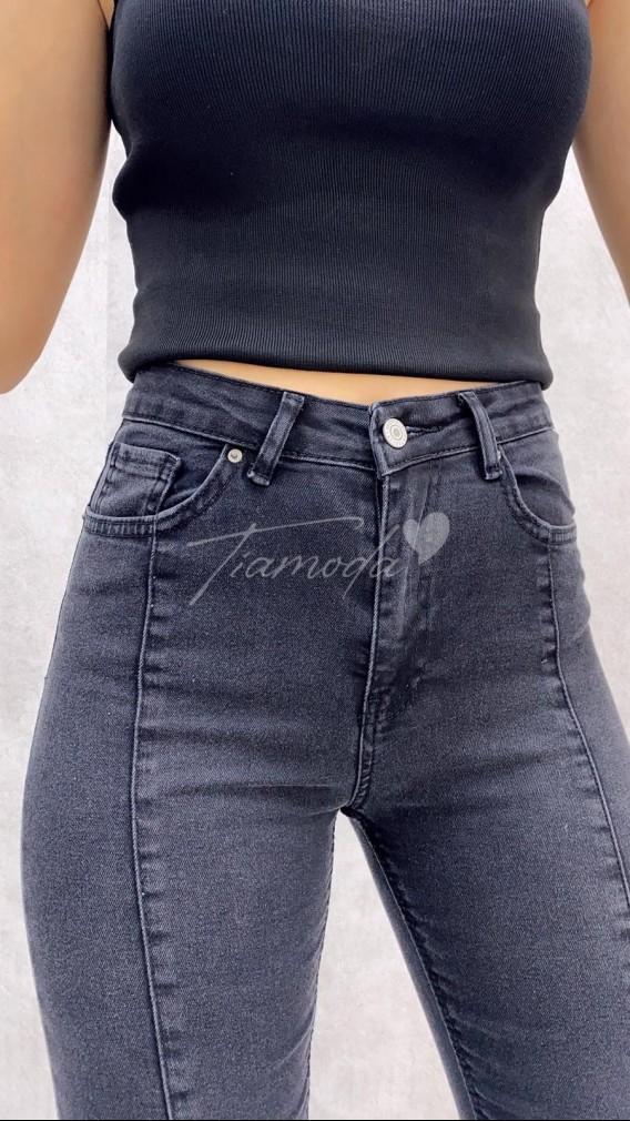 Paça Yırtmaç Likralı Jean - Siyah