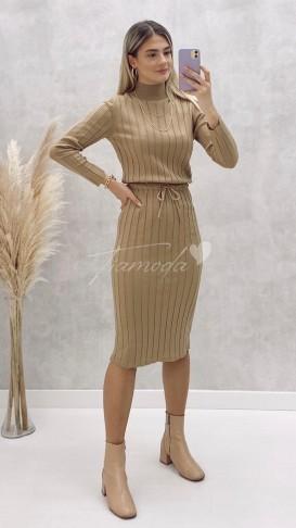 Beli Bağcıklı Triko Elbise - Bej