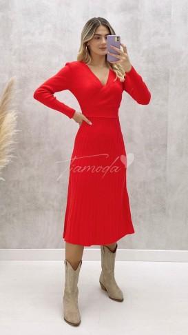 Kruvaze Yaka Pileli Triko Elbise - Kırmızı
