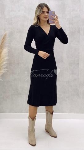Kruvaze Yaka Pileli Triko Elbise - Siyah