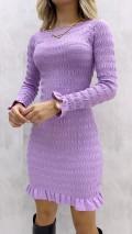 Gipeli Geniş Yaka Elbise - Lila