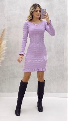 Drapeli Geniş Yaka Elbise - Lila