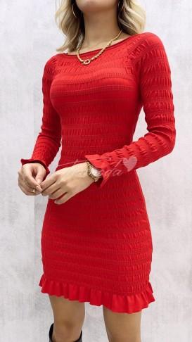Gipeli Geniş Yaka Elbise - Kırmızı
