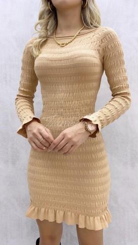 Gipeli Geniş Yaka Elbise - Bej