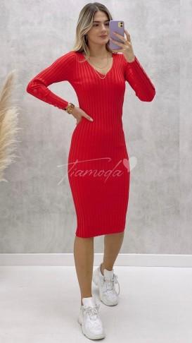 Kol Ucu Düğmeli V Yaka Elbise - Kırmızı