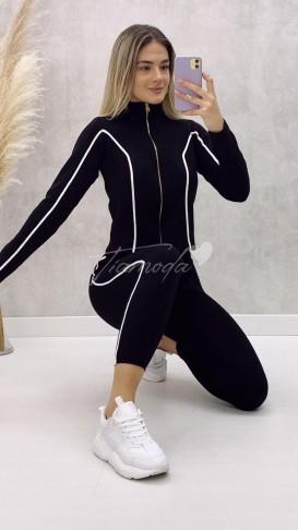 Fermuarlı Triko Takım - Siyah