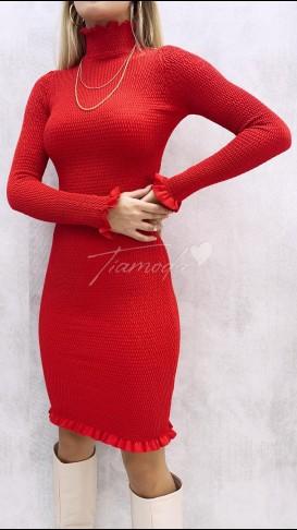 Full Gipeli Balıkçı Elbise - Kırmızı