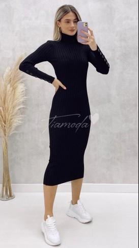 Kol Ucu Düğmeli Balıkçı Yaka Elbise - Siyah