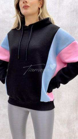 Renkli Oversize Sweat - Siyah