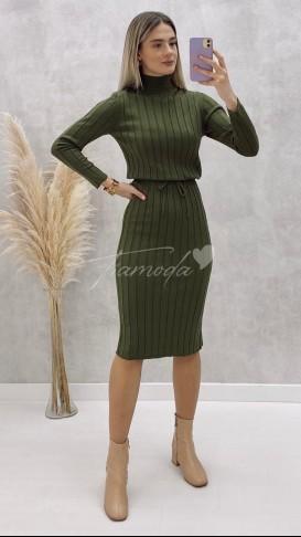 Beli Bağcıklı Triko Elbise - Haki
