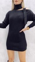 Omuz Askılı Kazak Elbise - Siyah