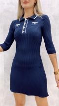 Kolej Yaka Triko Elbise - Lacivert