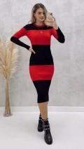 Çift Renk Triko Elbise - Kırmızı