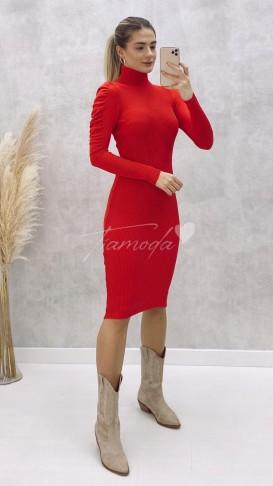 Omuz Gipeli Balıkçı Elbise - Kırmızı