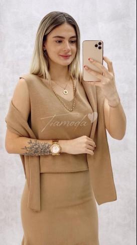 Fırfırlı Elbise Kazak Takım - Camel
