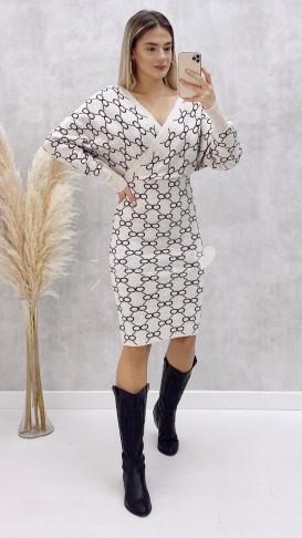 Yarasa Kol Desenli Elbise - Krem