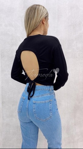 Sırt Detay Bluz - Siyah