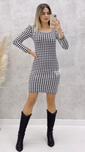 Kazayağı Desen Kare Yaka Elbise