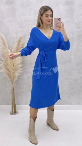 Kol Kuşaklı Elbise - Mavi