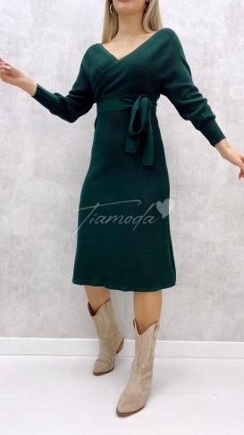 Kol Kuşaklı Elbise - Zümrüt