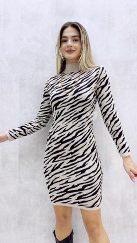 Zebra Desen Triko Elbise - Bej