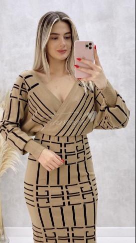 Yarasa Kol Çizgili Elbise - Bej