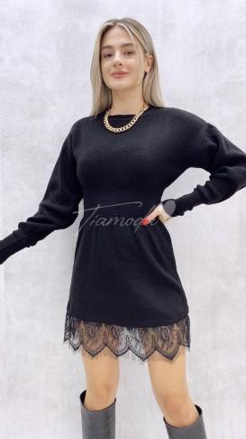 Eteği Dantel Bel Lastik Triko Elbise - Siyah