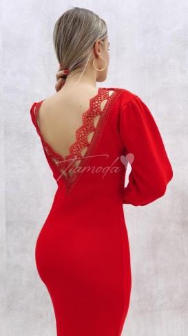 Sırt Detaylı Triko Elbise - Kırmızı