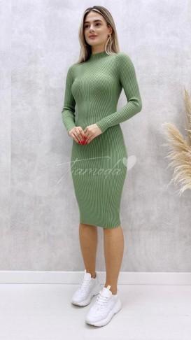 Fitilli Kalem Elbise - Yeşil