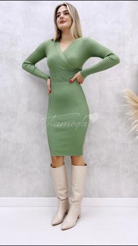 Ön Arka Çapraz Elbise - Mint