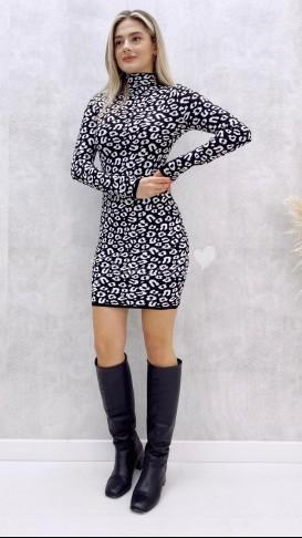 Leopar Desen Triko Elbise - Siyah