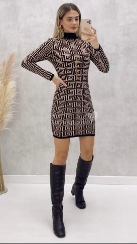 Geometrik Desenli Elbise