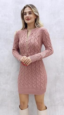 Yaka Fermuar Triko Elbise - Pudra
