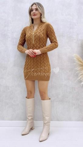 Yaka Fermuar Saç Örgü Elbise - Taba