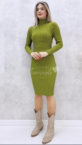 Korse Detay Fitilli Elbise - Fıstık Yeşil
