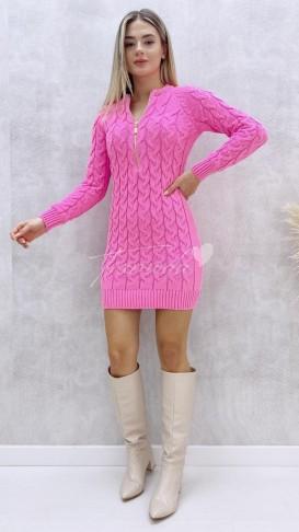 Yaka Fermuar Saç Örgü Elbise - Şeker Pembe