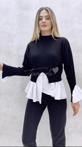 Gömlek Detaylı Kazak - Siyah