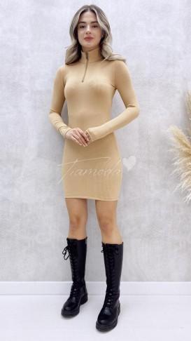 Yaka Fermuar Kaşkorse Elbise - Bej
