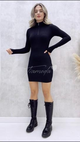 Yaka Fermuar Kaşkorse Elbise - Siyah