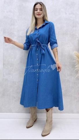 Kolu Katlı Jean Elbise - Mavi