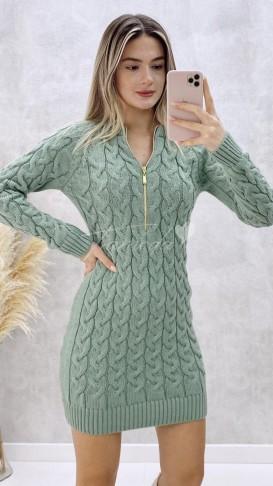 Yaka Fermuar Saç Örgü Elbise - Su Yeşil