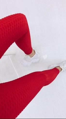 Petek Kumaş Toparlayıcı Tayt - Kırmızı