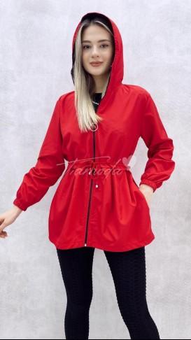 Bel Bağcıklı Yağmurluk - Kırmızı